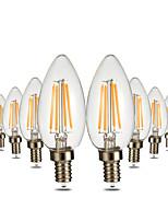 4W LED лампы в форме свечи C35 4 COB 300-400 lm Тёплый белый Диммируемая Декоративная AC 110-130 V 10 шт.
