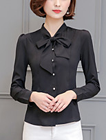 Women's Casual/Daily Work Street chic Fall Shirt,Solid Square Neck Long Sleeve Polyester Medium