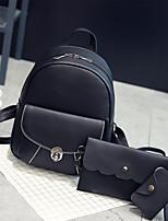 Women Backpack PU All Seasons Casual Round Zipper Gray Black Brown