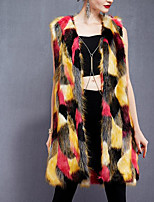 Women's Casual/Daily Simple Fall Winter Vest,Print Cowl Sleeveless Long Others