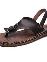 Men's Sandals Comfort Nappa Leather Summer Casual Comfort Flat Heel Brown Black White Flat