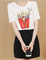 Для женщин На каждый день Лето Как у футболки Юбки Костюмы Круглый вырез,Современный С принтом С короткими рукавами