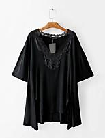 T-shirt Da donna Per uscire Casual Sensuale Semplice Moda città Estate,Tinta unita Rotonda Cotone Manica corta Sottile Medio spessore