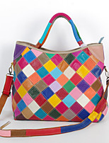 Women Tote Cowhide All Seasons Casual Rectangle Split Joint Plaid Zipper Rainbow Black