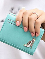 Women Money Clip PU All Seasons Casual Square Fold-over Clasp Blushing Pink Cyan