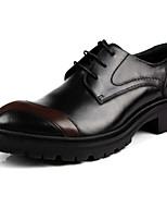Для мужчин Туфли на шнуровке Удобная обувь Кожа Лето Повседневные Удобная обувь На толстом каблуке Черный Коричневый 2,5 - 4,5 см