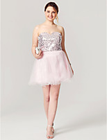 A-Line Fit & Flare Sweetheart Short / Mini Tulle Sequined Cocktail Party Homecoming Dress with Sequins Pleats by Sarahbridal