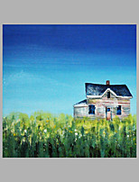 IARTS® Hand Painted Abstract Oil Painting Vintage Style Countryside Wooden House with Stretched Frame For Home Decoration Ready To Hang
