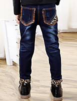 Boys' Stylish And Cool Comfortable Cotton Leopard Print Pocket Splicing Label Washing Leisure Denim Trousers