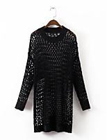 Standard Pullover Da donna-Per uscire Casual Semplice Moda città Tinta unita Rotonda Manica lunga Cotone Acrilico Primavera Autunno