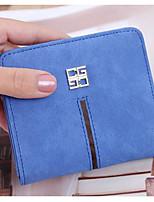 Women Checkbook Wallet PU All Seasons Casual Square Clasp Lock Azure Gray Black