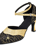 Women's Latin Glitter Sandals Performance Paillettes Cuban Heel Black Gold 2