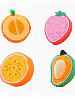 Fruit Shape Kitchen Bathroom Cleaning Brush & Cloth Sponge Scouring Pad 1PC