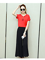 Women's Daily Simple Summer Shirt Skirt Suits,Solid Round Neck Short Sleeve
