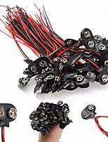 9v batterie snap connecteur clips supports de fils conducteurs - noir (100pcs)