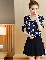 Women's Daily Modern/Comtemporary Summer T-shirt Skirt Suits,Print V Neck Short Sleeve
