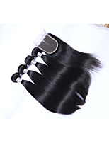 Short Size 4 pcs 400g 100% Unprocessed Natural Black Straight Brazilian Remy Human Hair Wefts with 1Pcs 4x4 Lace Top Closures Human Hair Extensions