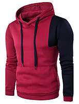 Men's Sports Going out Casual/Daily Simple Street chic Punk & Gothic Hoodie Solid Color Block Hooded Micro-elastic Cotton Long SleeveFall