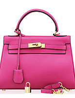 Women Shoulder Bag Cowhide All Seasons Casual Outdoor Shell Clasp Lock Fuchsia Gray Blushing Pink