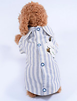 Dog Shirt / T-Shirt Dog Clothes Casual/Daily Stripe Blue Green