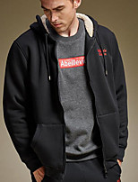 Men's Casual/Daily Simple Hoodie Solid Hooded Inelastic Cotton Long Sleeve Winter