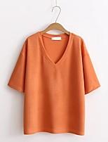 Standard Pullover Da donna-Per uscire Casual Semplice Moda città Tinta unita A V Manica corta Acrilico Estate Sottile Media elasticità