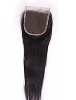 1 pedazo 4x4 que el encierro brasileño del pelo encierra derecho en el cordón libre de la pieza de las extensiones del pelo humano