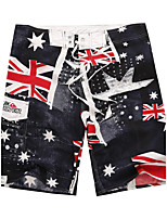 Men's Quick-Drying Breathable Bottoms Australian Flag Prints Beach/Swim Shorts Polyester Summer Black