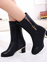 Для женщин Обувь на каблуках Босоножки Полиуретан Лето Повседневные Босоножки Черный Вино 4,5 - 7 см