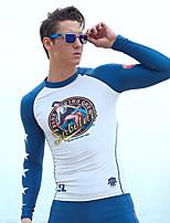 Homens Passeios de barco Resistente Raios Ultravioleta Elastano Terylene Fato de Mergulho Manga Longa Anti Atrito Blusas-Natação Praia