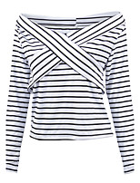Women's Sports Holiday Going out Casual/Daily Sexy Spring Fall T-shirt,Striped V Neck Long Sleeve Cotton