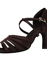 Women's Latin Silk Sandals Performance Buckle Stiletto Heel Dark Brown 3