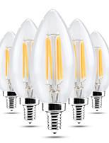 5 pcs Dimmable YWXLight® LED Bulb E14 C35 4W Glass Shell 360 Degree Vintage LED Candle Light C35 Edison LED Filament Lamp Warm White AC 220-240V