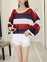 Women's Going out Casual/Daily Boho Summer Fall T-shirt,Striped Round Neck Long Sleeve Polyester Medium