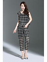 Debardeur Pantalon Costumes Femme,Grille / Carreaux Sortie Travail simple Rétro Eté Sans Manches Col Arrondi non élastique