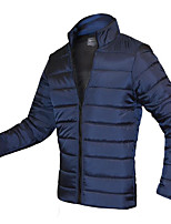 Men's Regular Padded Coat,Simple Active Going out Casual/Daily Solid-Cotton Rayon Cotton Long Sleeve