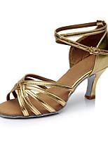 Da donna Balli latino-americani Finta pelle Sandali Per interni Tacco su misura Oro Personalizzabile