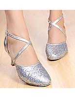 Women's Latin Paillette Glitter Heels Practice Ruby Silver Gold