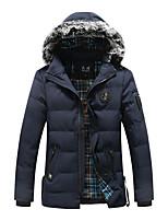 Пальто Простое Обычная На подкладке Для мужчин,Однотонный Полоски На каждый день Полиэстер Хлопок,Длинный рукав