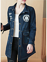 Women's Daily Modern/Comtemporary Spring Denim Jacket,Print Letter Shirt Collar Long Sleeve Regular Others