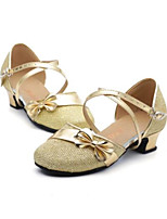 Women's Latin Paillette Glitter Flats Heels Practice Purple Gold