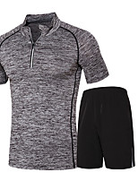 Men's Running T-Shirt with Shorts Short Sleeves Moisture Wicking Quick Dry Clothing Suits for Running/Jogging Exercise & Fitness
