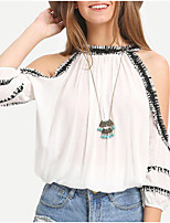 Women's Going out Casual/Daily Simple Cute Spring Summer Blouse,Patchwork Halter ¾ Sleeve Polyester Medium