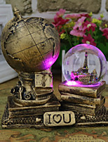 Random Color Hot Sale Resin Vintage Classic LED Light World Globe Map Earth Atlas Crystal Ball Decor For HOME Office Gift for Friends