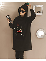 Women's Daily Hoodie Solid Embroidery Hooded Micro-elastic Cotton Long Sleeve Fall