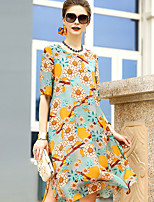 YENMEINAR Women's Going out Cute Sheath DressFloral Round Neck Knee-length Half Sleeve Silk Summer Mid Rise Micro-elastic Medium