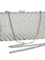 Women Evening Bag Polyester All Seasons Wedding Event/Party Formal Minaudiere Rhinestone Clasp Lock Silver