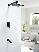 8 Inch Contemporary  Oil-rubbed Bronze Wall Mount Rain Double Handles Brass Shower Faucet with Showerhead and Faucet Tap