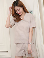 Women's Casual Simple Summer T-shirt Pant Suits,Solid Asymmetrical Short Sleeve Micro-elastic