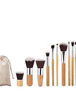 11pcs Makeup Brush Set Blush Brush Foundation Brush Nylon Full Coverage Aluminum Bamboo Face